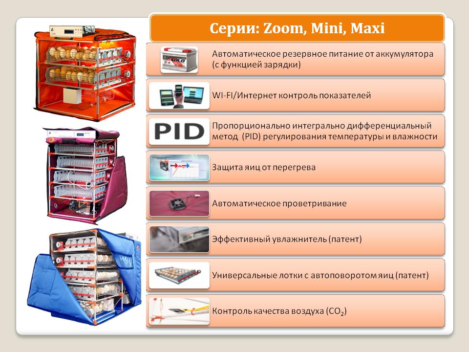 серия инкубаторов от торговой марки Broody: Zoom, Mini, Maxi